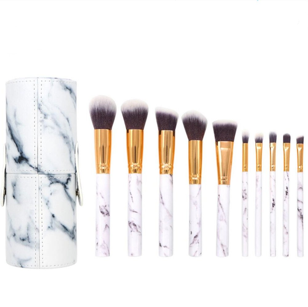 Coshine 10pcs Pro Marble Makeup Brushes Set with Marble Brush Holder, For Loose Powder, Contour, Shade, Highlighter, Eyeshadow and Foundation CS-201914