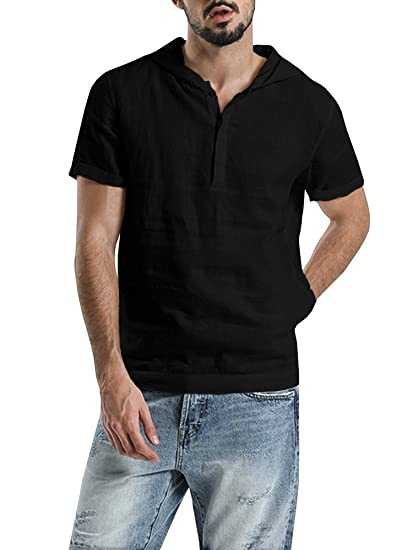 c258c9f60 SySea Mens Short Sleeve Button Henley Neck Pullover Hooded Linen Woven Shirt  Casual T Shirts at Amazon Men's Clothing store: