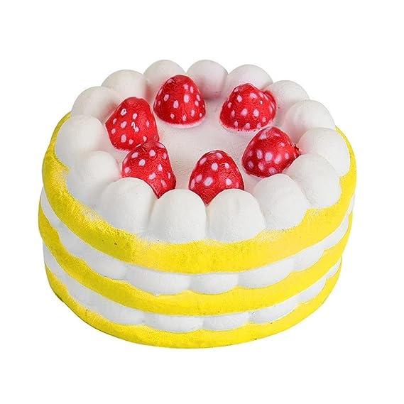 Juguetes de compresión,Beikoard Tres Mini pastel de fresas alivio de la tensión blanda lento