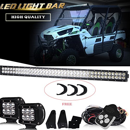 DOT Approved 40-42In 240W Spot Flood Combo Led Light Bar On Bumper Roof Rack Push Bar Grill + 4In Pods Cube Fog Lights For Ford Side by Side Polaris Ranger Golf Cart Toyota Tundra Chevy Jeep 12V-24V