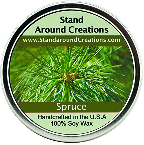 Premium 100% All Natural Soy Wax Aromatherapy Candle - 16 oz Tin Spruce: More complex than a typical Frasier or Douglas Fir, it's got a punchy, bright citrus note that is really pleasing. Capture the spirit of the holidays with - Tin Candle Essential