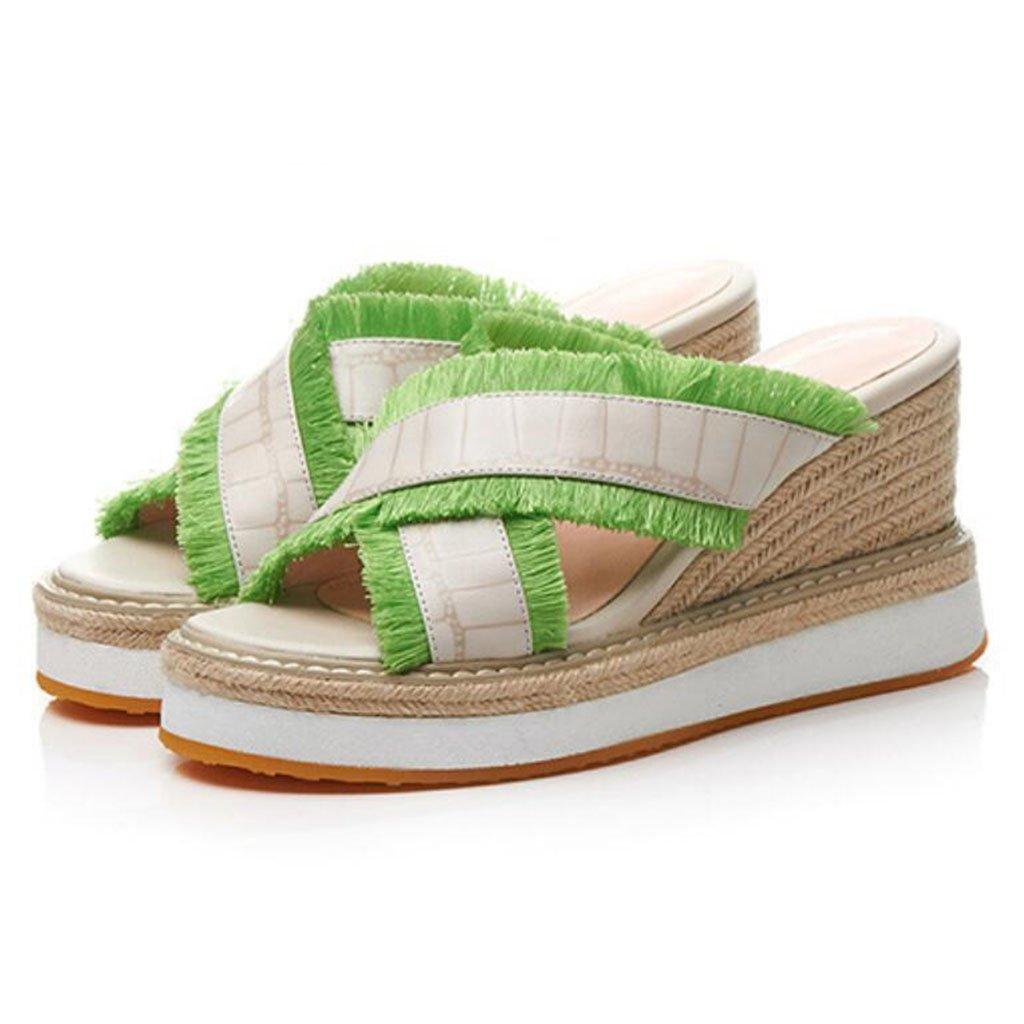 GAOLIXIA Sandalias de cuero del dedo del pie de las mujeres del verano correas cruzadas borla tacones altos cuñas de paja zapatillas al aire libre de gran tamaño 33-40 (Color : Verde, tamaño : 38) 38|Verde