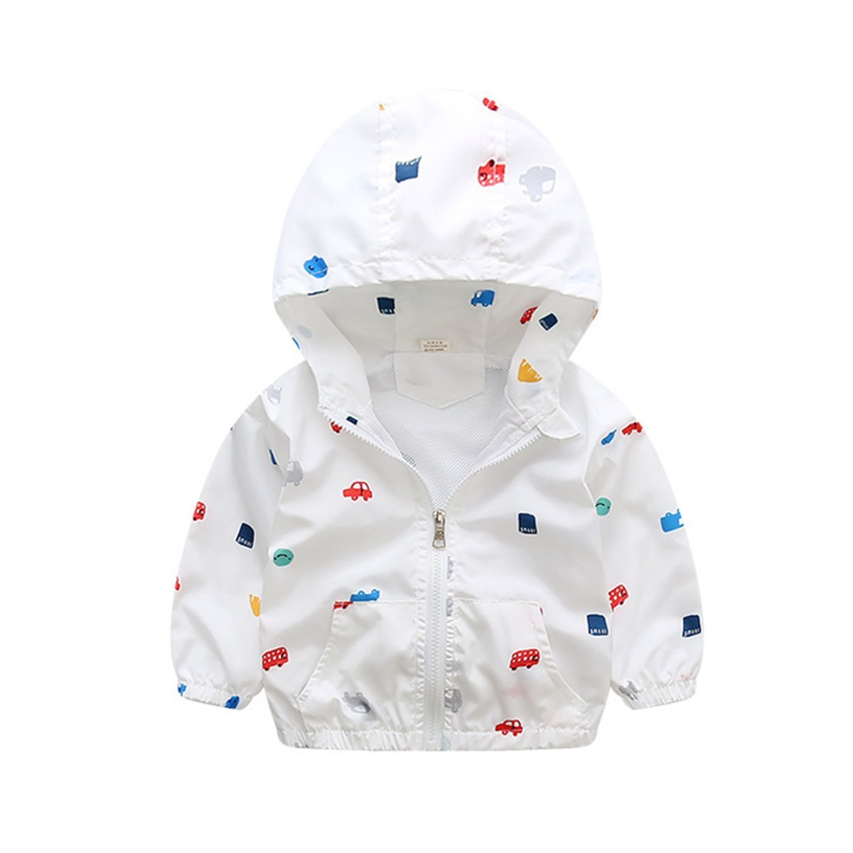 Foyeria Jacket Coat Outerwear Spring Print Cartoon Hooded Casual Water Resistance For Baby Girls Boys (White, 4T)