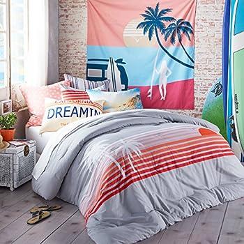 Hang Ten Sunset Stripe Reversible Cotton Duvet Cover Set, Grey, Twin