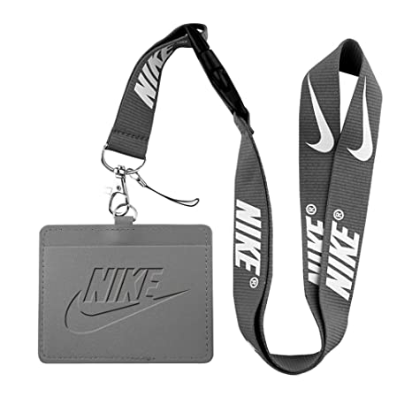 e6f37c1645 Nike grigio porta cartellino porta badge con portachiavi cordino similpelle