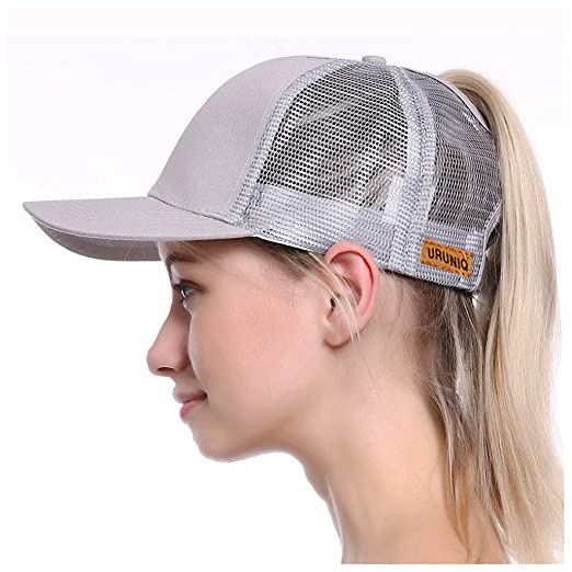 789761e8b URUNIQ Ponytail Hats for Women Messy Trucker Hat Plain Ponytail Baseball  Visor Cap Adjustable Ponytail Holder Visor