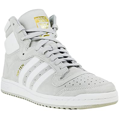 adidas Originals Men's Top Ten Hi Fashion Sneaker, Light Grey Heather Solid  Grey/White
