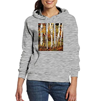 19f1a87f301 Omgaa Fall Birch Trees Women s Pullover Hoodie Drawstring Sweatshirt with  Pocket White at Amazon Women s Clothing store