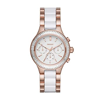 2aebb545f88ce Amazon.com  DKNY Women s  Chambers  Quartz Stainless Steel and Ceramic  Casual Watch
