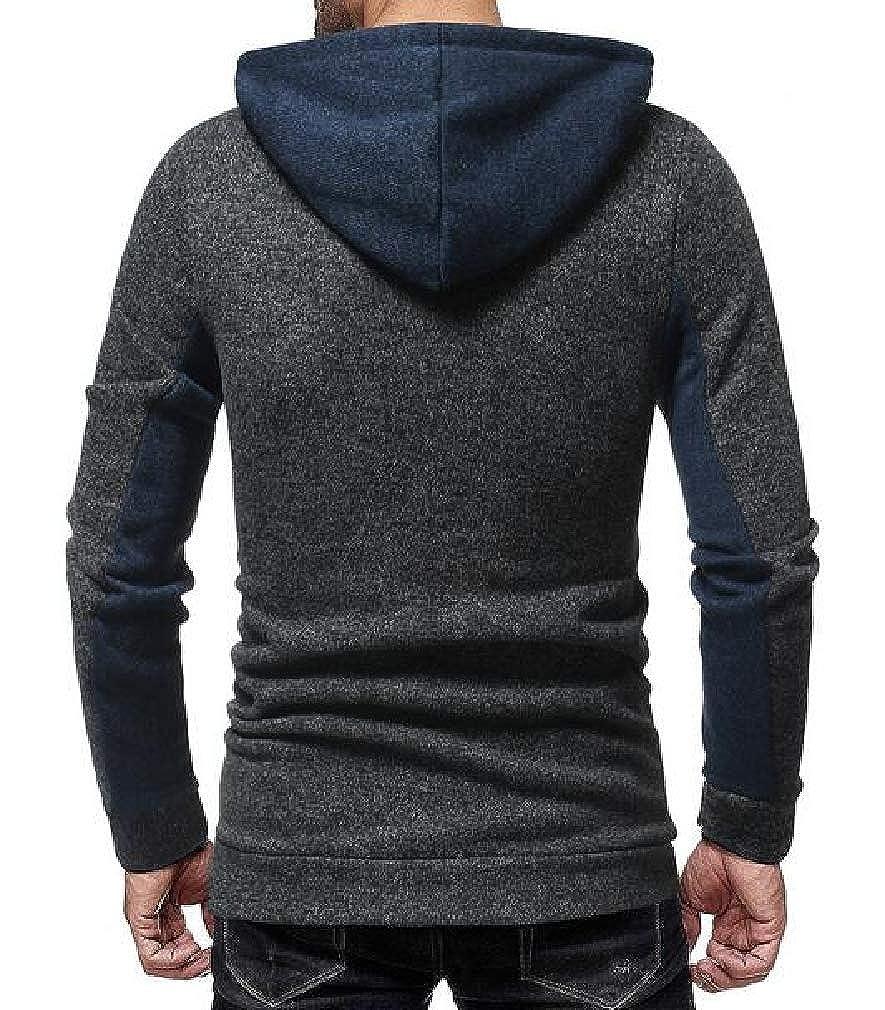 Joe Wenko Mens Fall//Winter Color Block Hoodies Long Sleeve Pullover Sweatshirts