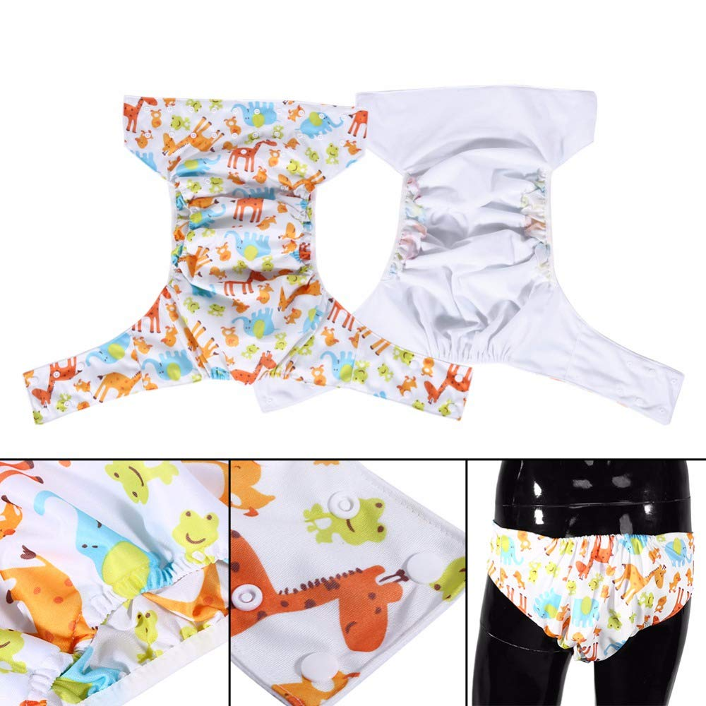 Printed Design Reusable Washable Pocket Cloth Diaper 2 Nappies All-In-One Adult Cloth Diapers Cover