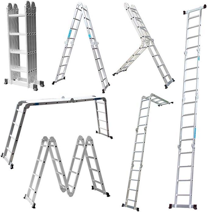 Froadp /Échafaudages en Aluminium Multifonctionnel de Travail Pliable /Échelle avec le Panneau de Antid/érapante Capacit/é de Charge Jusqu/à 150KG avec 2 Entretoises et 2 Roues 2/×6 /étapes