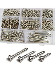Phillips Pan Round Head Self Tapping Screw Cross Recessed Metric Threaded Bolt Hardware Fastener Assortment Kit Set SAE 275Pcs 304Stainless Steel #6#8#10#12