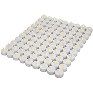 Tea Lights,LED tealight Tea Candles 100-pack,Battery Candles,Flickering Tea Candles for Anniversary,Garden, Wedding, Party, Décor(Warm Yellow Light,100-pack)