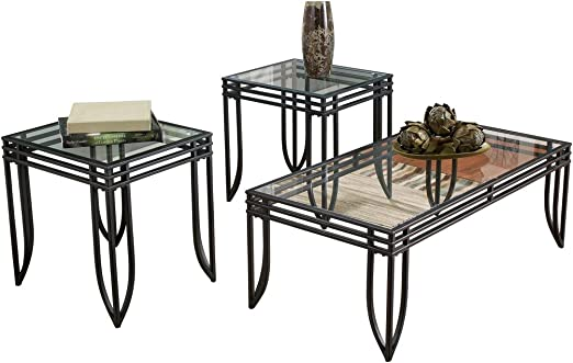 Amazon Com Signature Design By Ashley Exeter Glass Top 3 Piece