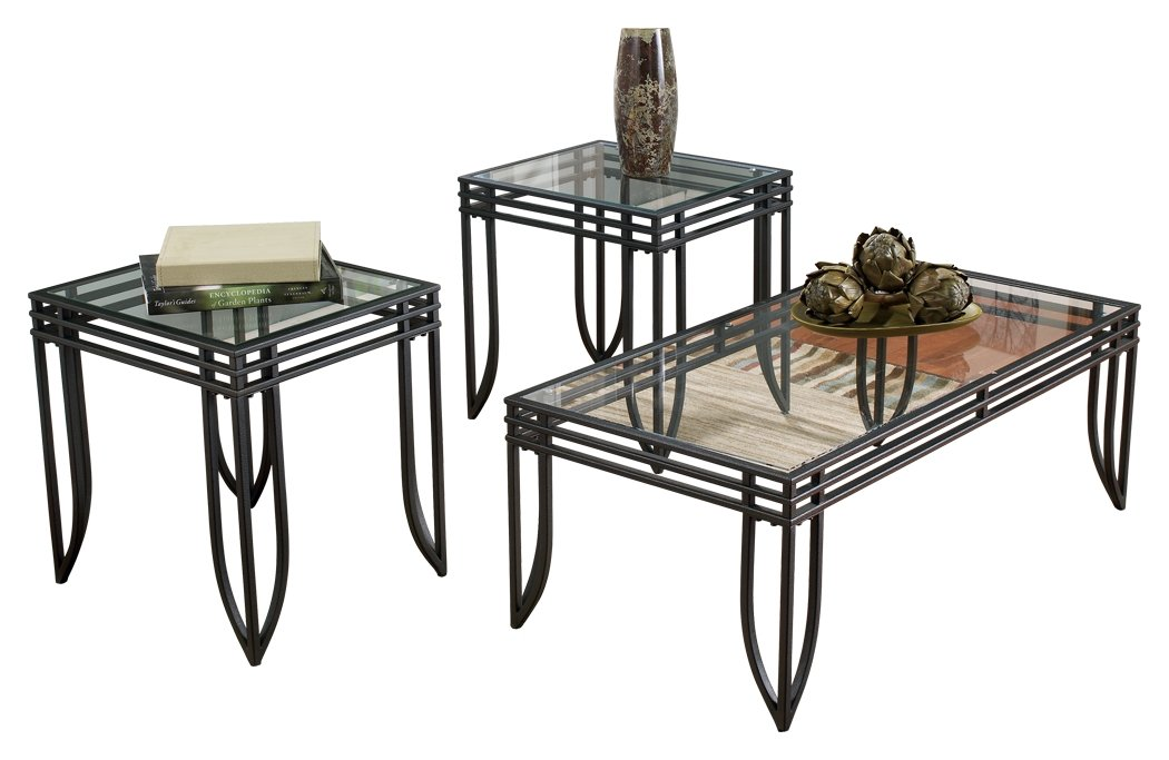 Ashley Furniture Signature Design - Exeter Glass Top Occasional Table Set - Contains Cocktail Table & 2 End Tables - Contemporary - Black/Brown by Signature Design by Ashley