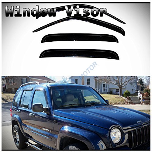 D&O MOTOR 4pcs Front+Rear Smoke Sun/Rain Guard Outside Mount Tape-On Window Visors for 02-07 Jeep ()
