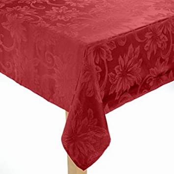 Ordinaire St Nicholas Square Rich Red Poinsettia Tablecloth Fabric Table Cloth 90  Round