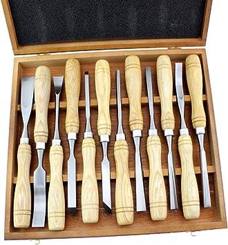 Juego de herramientas de madera para tallado a mano, cincel de mano, 12 piezas, juego de gubias para trabajar la madera con caja de madera y manganeso 65: Amazon.es: Bricolaje y herramientas