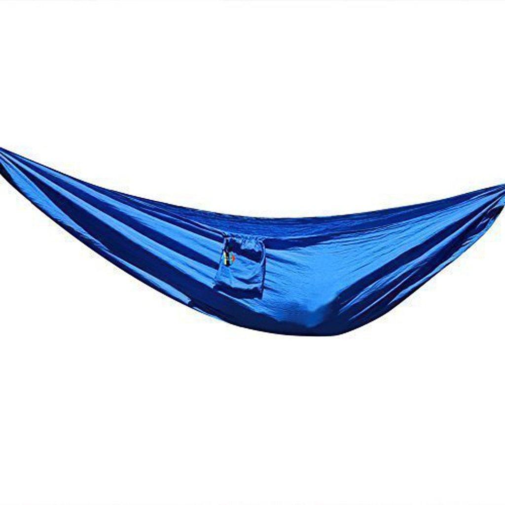 Súper súper luz paracaídas hamaca al aire libre camping dormitory dormitorio oscilación vuelta cuerda (azul)