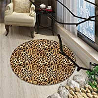 Brown small round rug Carpet Leopard Print Animal Skin Digital Printed Wild African Safari Themed Spotted Pattern ArtOriental Floor and Carpets Brown