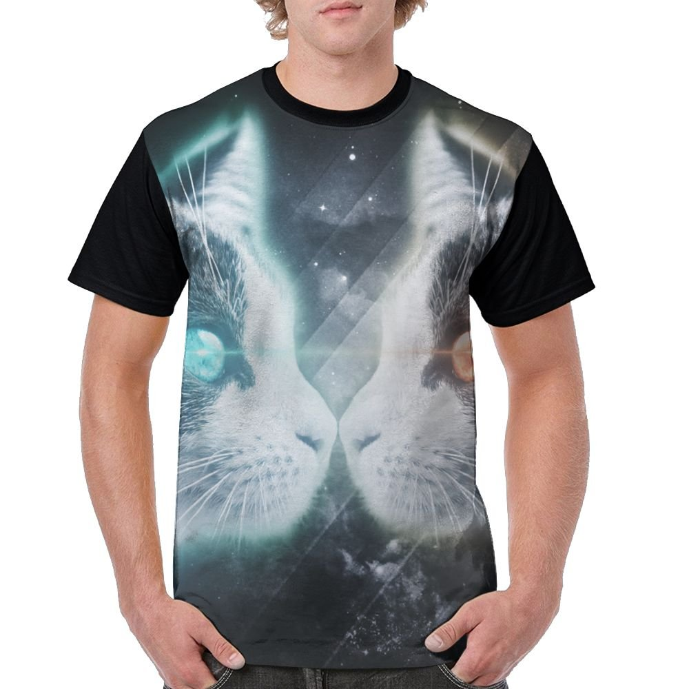 CKS DA WUQ Ice Fire Cat Men's Raglan Short Sleeve Tops T-Shirt Casual Undershirts Baseball Tees