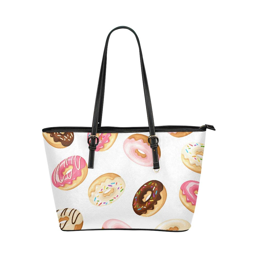 Sweet Yummy Chocolate Dessert Sugar Donut Large Soft Leather Portable Top Handle Hand Totes Bags Causal Handbags With Zipper Shoulder Shopping Purse Luggage Organizer For Lady Girls Womens Work