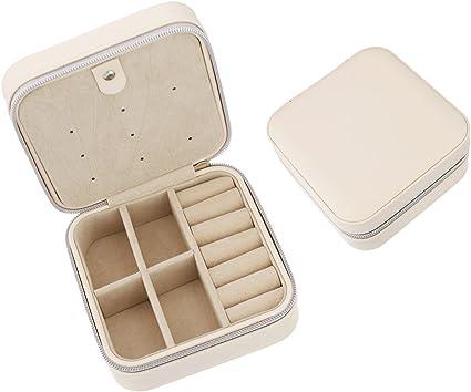 Joyero pequeño de piel sintética, para guardar anillos, pendientes y collares; perfecto para llevar de viaje, para organizar y mostrar tus joyas o para regalar blanco: Amazon.es: Hogar