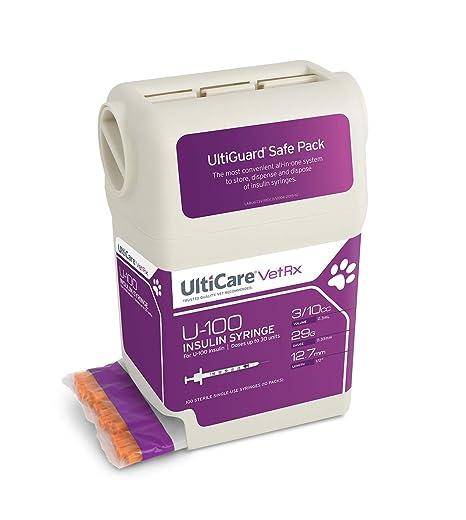 "UltiCare VetRx U-100 UltiGuard Safe Pack Pet Insulin Syringes 3/10cc, 29G x  1/2"", 100ct"