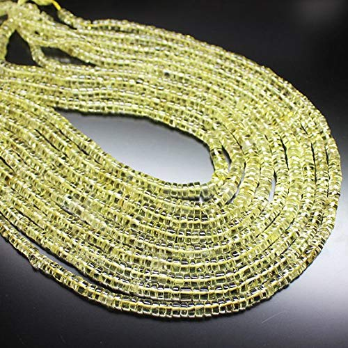 Beads Bazar Natural Beautiful jewellery 2 Strands Natural Lemon Quartz Smooth Rondelle Tyre Wheel Micro Craft Loose Beads 13