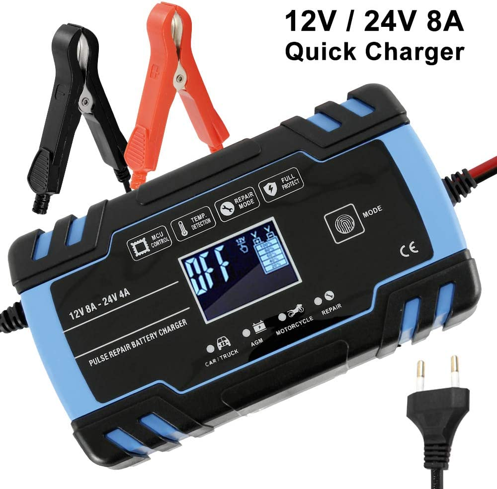 You's Auto Cargador de Batería Coche 8A 12V/4A 24V Automático Inteligente Mantenimiento con Múltiples Protecciones para Automóviles, Motocicletas, ATVs, RVs, Barco.etc (A)