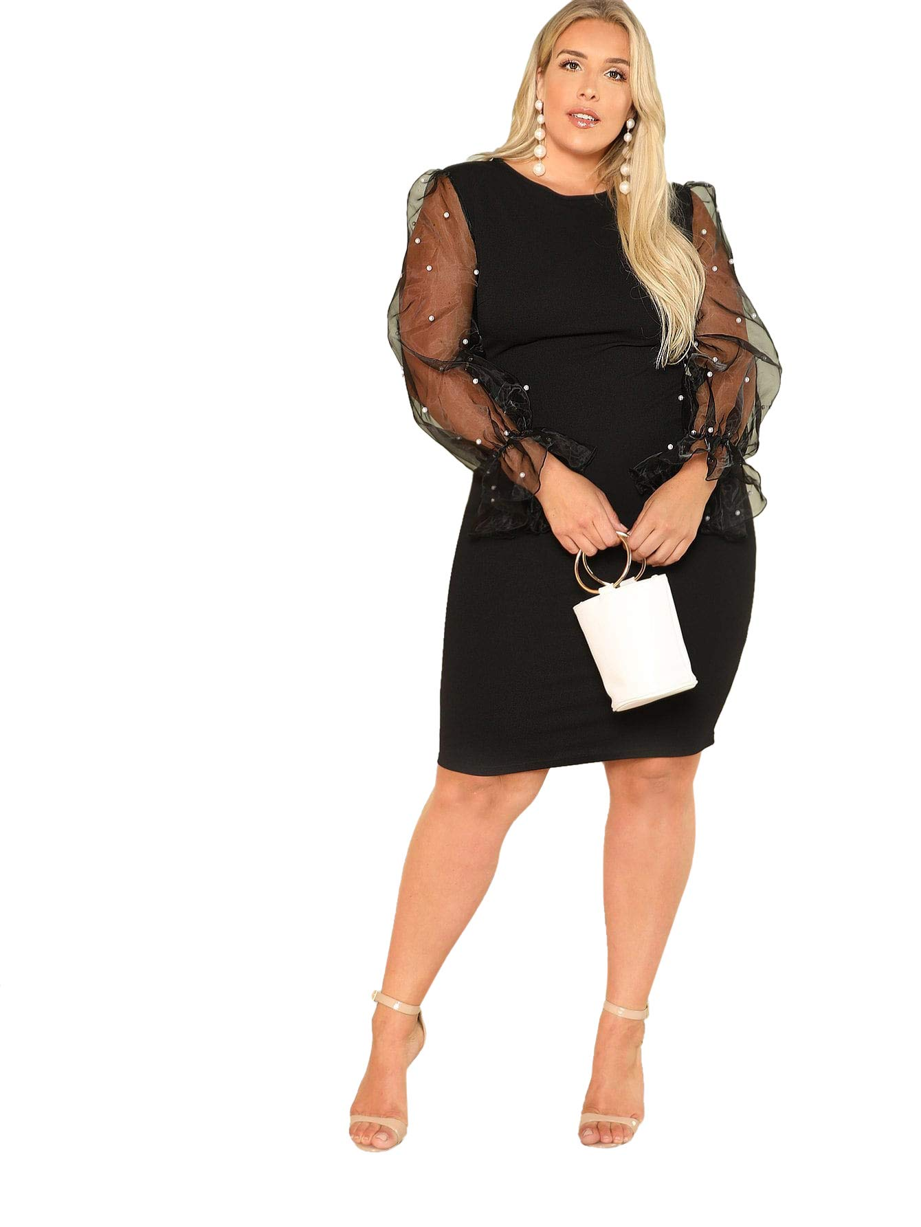 SheIn Womens Elegant Mesh Contrast Long Bishop Sleeve Bodycon Pencil Dress Black#2 X-Large