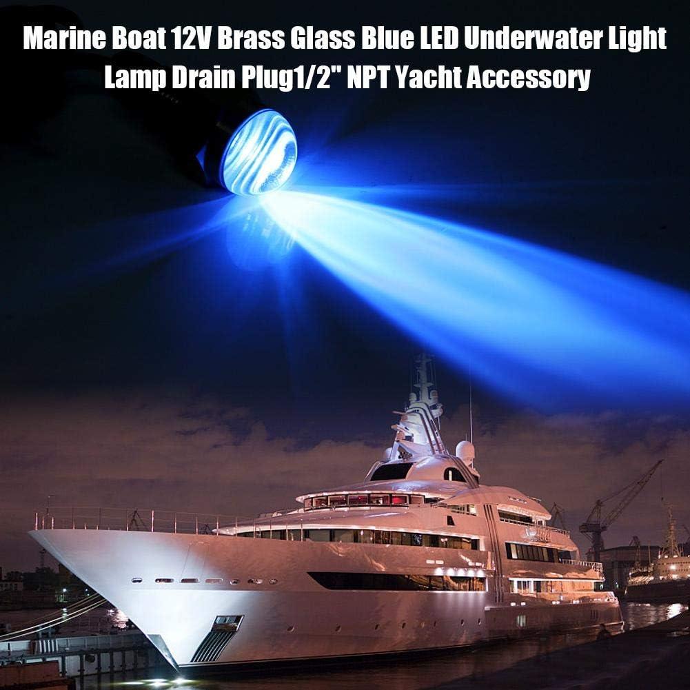 Luz subacu/ática lat/ón 12v vidrio IP68 Impermeable LED L/ámpara subacu/ática Tap/ón de drenaje marino para barco Accesorio para yate NPT de 1//2