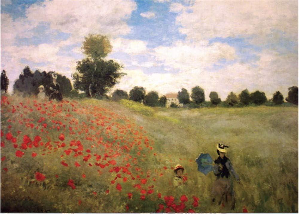 Pintura al óleo por números Campo de flores de amapola famoso francés sobre lienzo para niños adultos Diy-With Frame