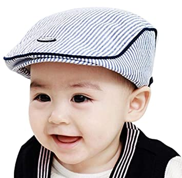 5f1b905ee46 OP H Adorable bébé Enfant Fille garçon à Rayures Béret Casquette à visière  Chapeau de Baseball