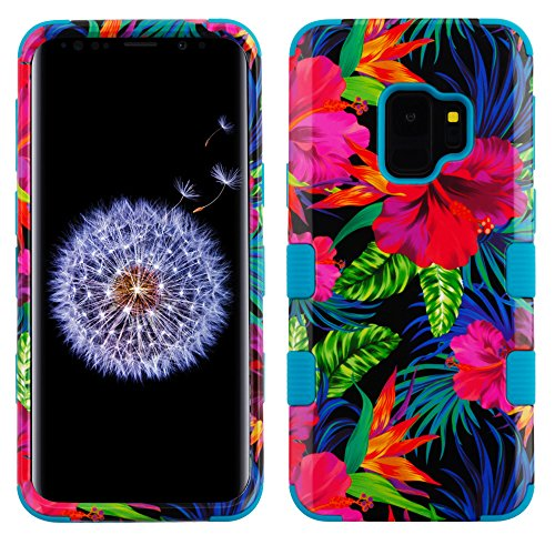 Cell Phone Electric Shock - MyBat Cell Phone Case for Samsung Galaxy S9 - Electric Hibiscus/Tropical Teal Image