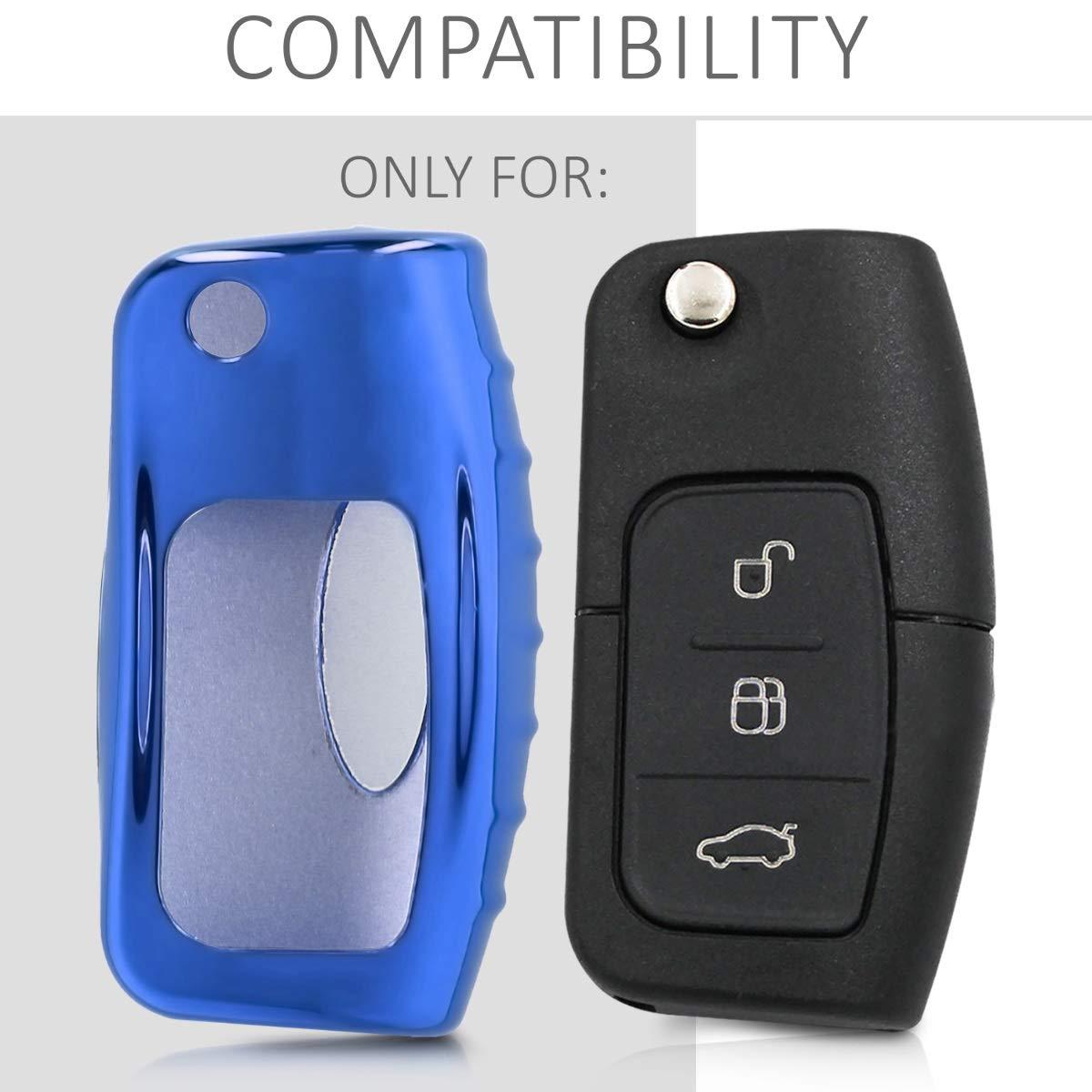 Housse de Protection Mat argent/é Coque en Silicone pour Clef de Voiture Ford Pliable 3-Bouton kwmobile Accessoire Clef de Voiture pour Ford