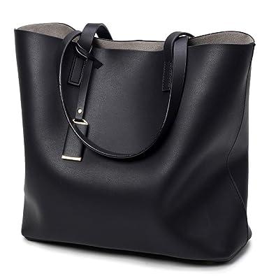 a8c1f50c39 Hynbse Women Fashion Large Light Weight Summer Soft Leather Tote Bag Cross  Shoulder Handbag Black