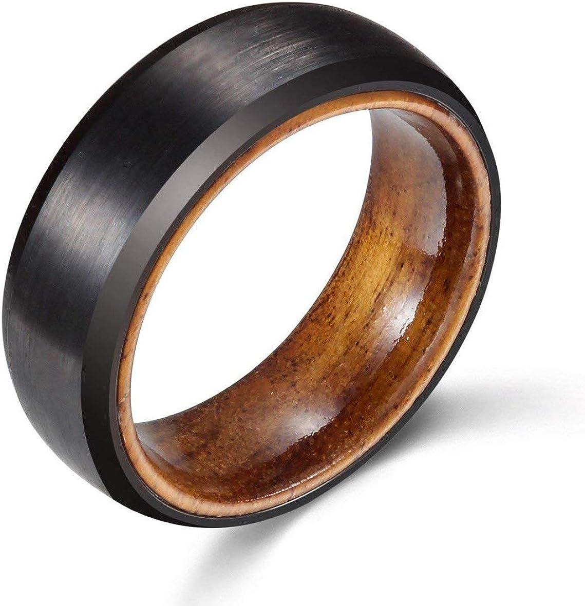 WASOLIE Mens 8mm Tungsten Rose Wood Sleeve Wedding Ring Engagement Band Black Matte Finish Comfort Fit Flat Style/Beveled Edge