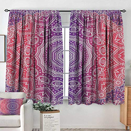 Mozenou Pink and Purple Window Curtain Drape Vintage Art in Mandala Print Ombre Myriad Realms Icon Geometry Design Decor Curtains by 63