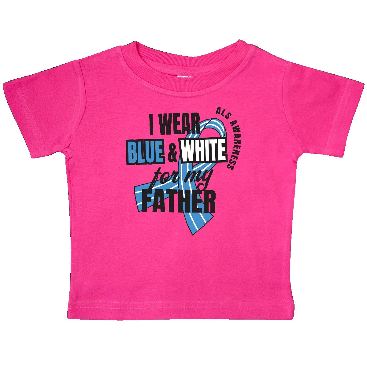 inktastic I Wear Blue and White for My Father ALS Awareness Baby T-Shirt