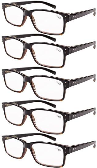 Eyekepper 5 paquetes de bisagra con muelle Vintage Gafas de Lectura (Negro/Amarillo,+1.50)