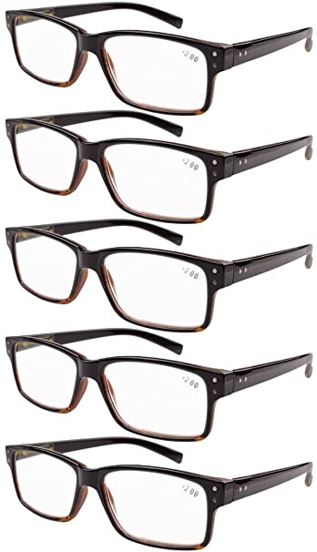 156b5dfecb70 Image Unavailable. Image not available for. Color: Eyekepper 5-pack Spring  Hinges Vintage Reading Glasses Men Readers Black-Yellow ...