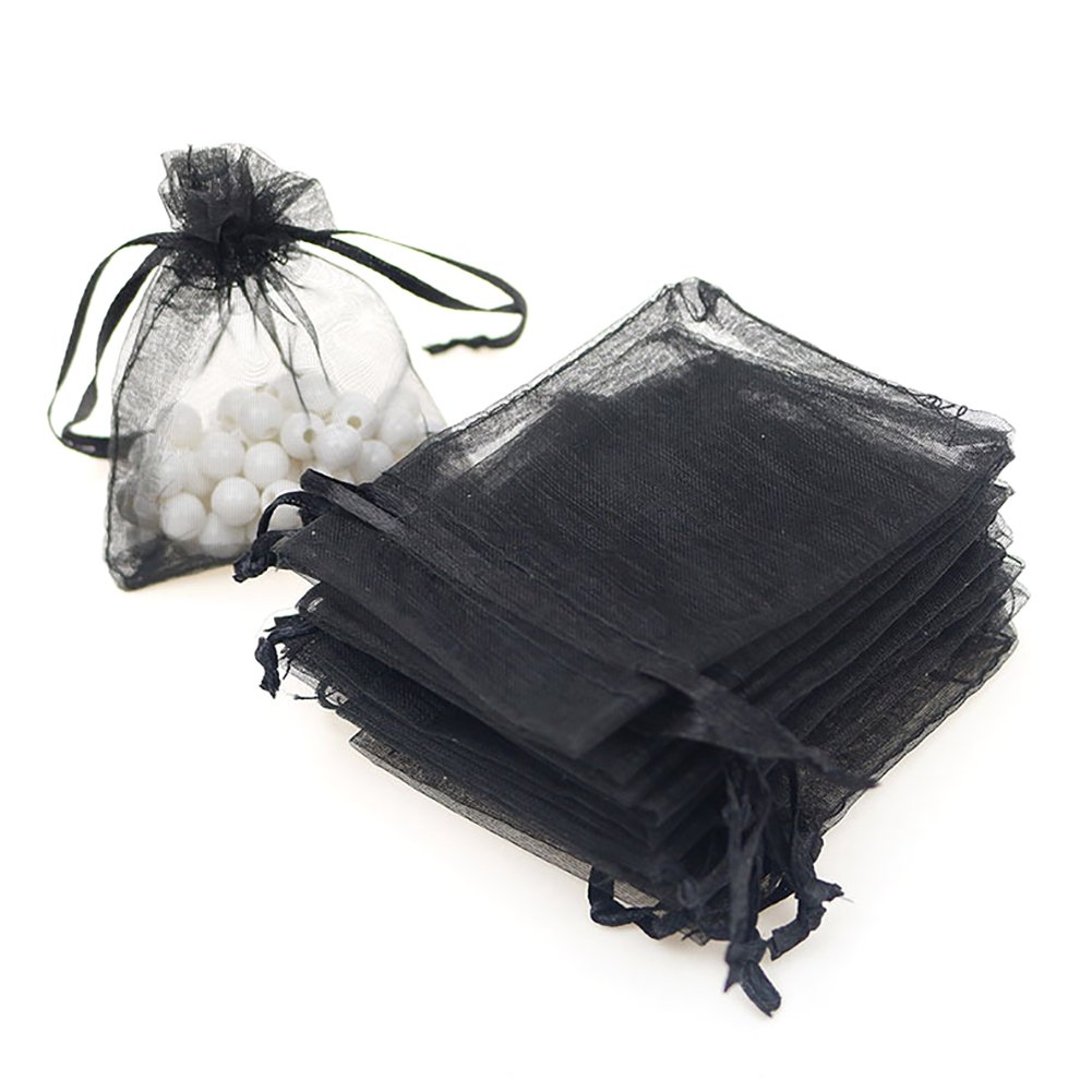 Aspire 1000 Pieces Organza Drawstring Pouches, 3 1/2'' x 4 3/4'' Jewlery Candy Gift Bag-Black