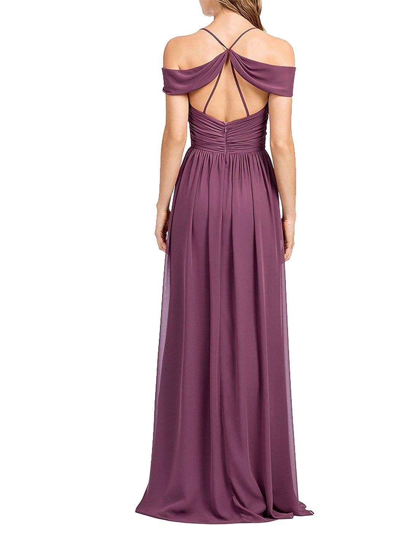 Amore Bridal Women\'s Long Off Shoulder Prom Dress Chiffon Bridesmaid ...