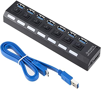 4//7 Port USB 3.0 Hub 5Gbps High Speed On//Off Switches AC Power Adapter for PC RF