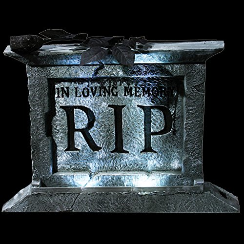 [Gothic Light-Up RIP TOMBSTONE PEDESTAL Halloween Prop Haunted House Decoration] (Haunted House Prop)