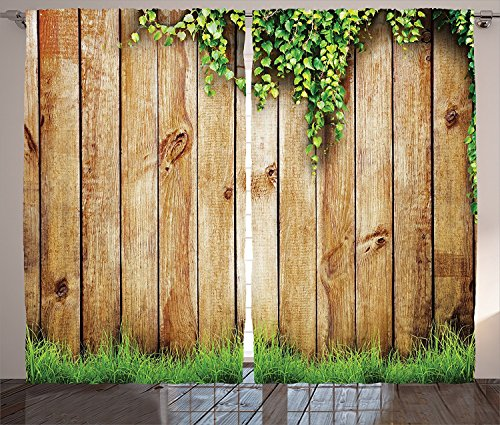 Rustic Home Decor Curtains Fresh Spring Grass and Leaf Plant over Old Wood Fence Garden Field Photo Living Room Bedroom Window Drapes 2 Panel Set Green Brown For Sale