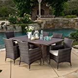 Great Deal Furniture Clementine Outdoor 7pc Multibrown Wicker Dining Set For Sale