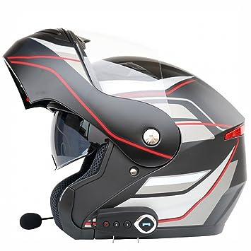 Am - Casco de Moto antivaho con Doble Lente Bluetooth para Motocicleta, Casco de Motocicleta